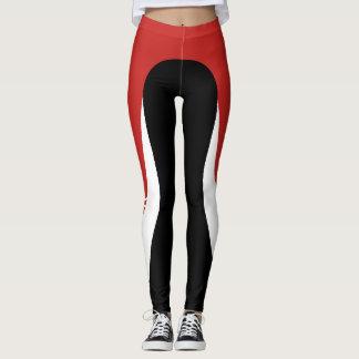 Red/White/Black Pattern Leggings 3
