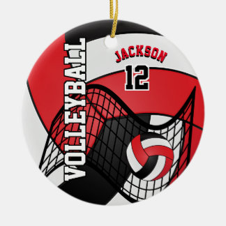 Red, White & Black Personalize Volleyball Christmas Ornament