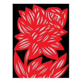 Red White Black Rose Flower Flowers Floral Flora Postcard