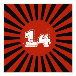 "Red, White Black Teen Boy's Birthday Party Invite 5.25"" Square Invitation Card"