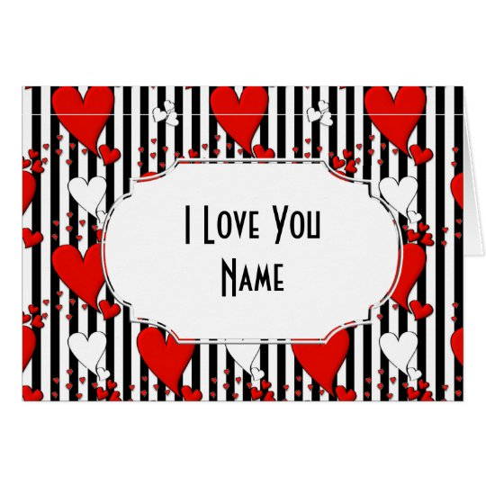 Red White Black Valentine Hearts Greeting Card