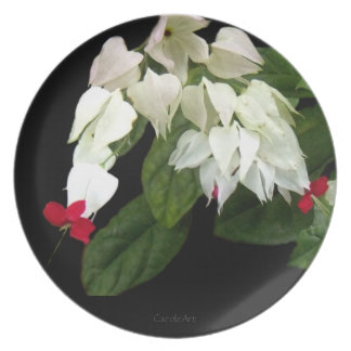 Red White Bleeding Hearts Party Plate