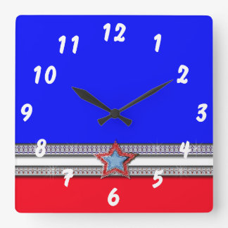 Red, White, & Bling Wall Clock