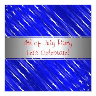 Red White Blue 4th of July Party Event Invitati 13 Cm X 13 Cm Square Invitation Card