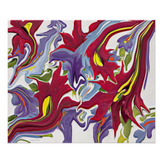 Red White & Blue Abstract Flower Painting Poster