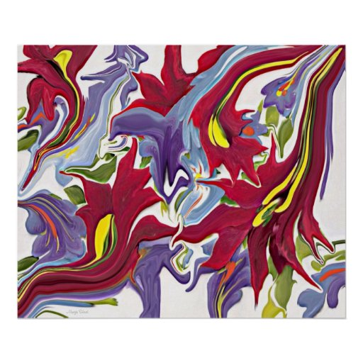 Red White & Blue Abstract Flower Painting Posters