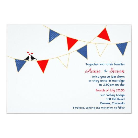 Red White Blue America Bunting Wedding Invitation