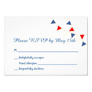 Red White & Blue American Bunting Wedding RSVP 3.5x5 Paper Invitation Card