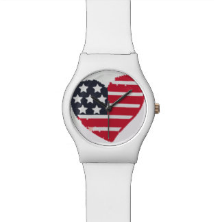 Red White & Blue American Flag Heart Shape Watch