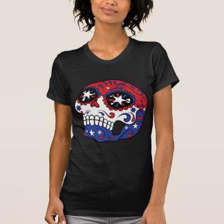 Red White Blue American Flag Patriotic Sugar Skull Tees