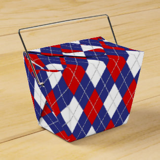 Red,White,Blue Argyle 2-PARTY FAVOR BOX, take out Favour Boxes
