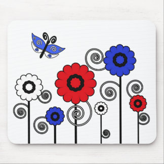 Red, white, blue art flowers & butterfly mousepad