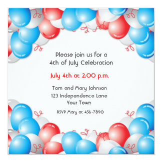"Red, White, Blue Balloons Patriotic 5.25"" Square Invitation Card"