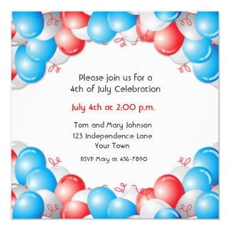 Red, White, Blue Balloons Patriotic 5.25x5.25 Square Paper Invitation Card