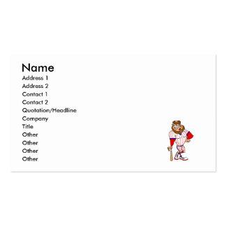 Red white blue baseball guy business cards