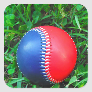 Red White & Blue Baseball Square Sticker