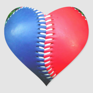 Red White & Blue Baseball Heart Stickers