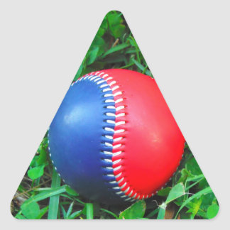 Red White & Blue Baseball Triangle Sticker