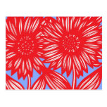 Red White Blue Big Flowers Postcard