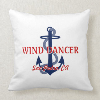 Red White Blue Boat Name with Anchor Square Pillow