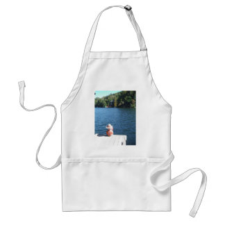 Red, White ,Blue: Boy Sitting on Dock with Flag Standard Apron