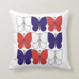 Red White Blue Butterflies American MoJo Pillows Throw Cushions
