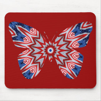 Red, white & blue butterfly flag mouse pad
