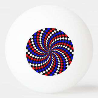 Red White Blue Checker Spiral Ping Pong Ball