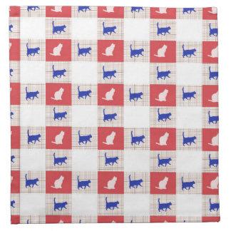 Red, White & Blue Checkerboard Cat Pattern Napkin