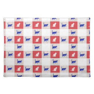 Red, White & Blue Checkerboard Cat Pattern Placemat