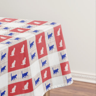 Red, White & Blue Checkerboard Cat Pattern Tablecloth