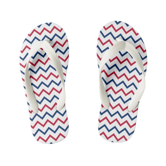 Red, White & Blue Chevron Kid's Flip Flops