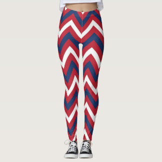 Red, White Blue Chevron Leggings