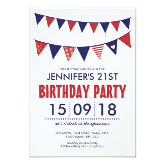 RED WHITE BLUE COUNTRY BUNTING BIRTHDAY 13 CM X 18 CM INVITATION CARD