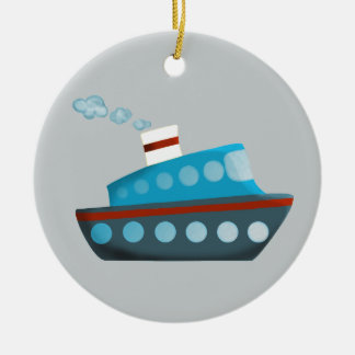 Red White Blue Cruise Ship Christmas Ornament