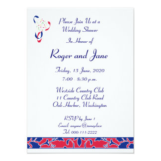Red, White, & Blue, Damask Bridal Shower 14 Cm X 19 Cm Invitation Card