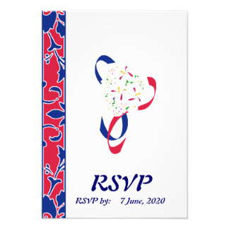 Red White Blue Damask RSVP Wedding Card Invitation