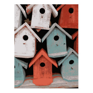 Red White Blue Decorative Vintage Bird Houses Postcard