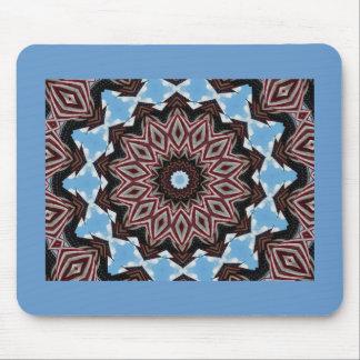 Red, white & blue diamond fractal design mouse pad