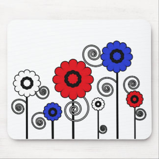 Red& white & blue digital art flowers mousepad