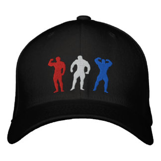 Red - White - Blue Embroiderd Body Builders Cap Embroidered Baseball Caps