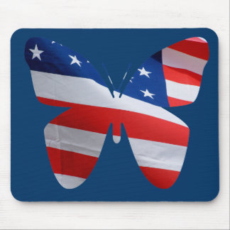 Red white blue flag butterfly mouse pad