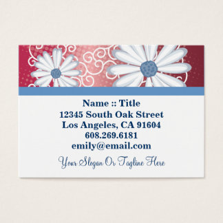 Red White Blue Floral Tribal Daisy Tattoo Pattern Business Card