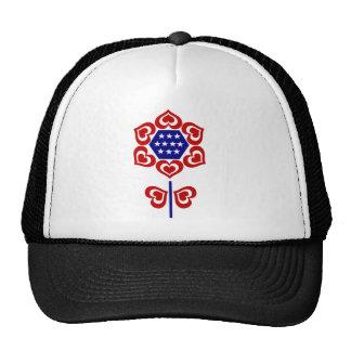 Red White Blue Flower Trucker Hats