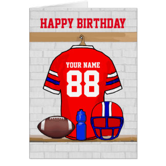 Red White Blue Football Jersey Happy Birthday Greeting Card