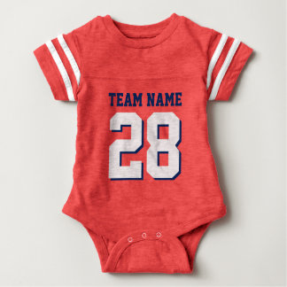 Red White Blue Football Jersey Sports Baby Romper Baby Bodysuit