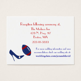Red, White, & Blue Football Wedding Enclosures Business Card