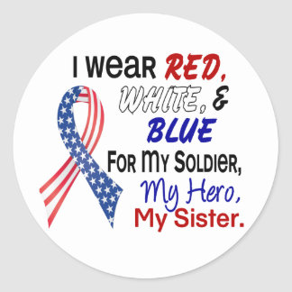 Red White Blue For My Sister Round Sticker