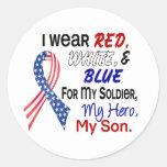 Red White Blue For My Son Round Sticker