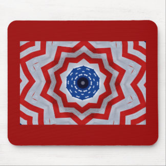 Red, white & blue fractal flag mouse pad